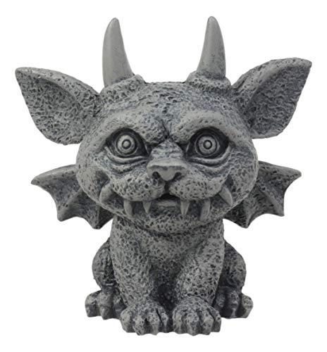 Ebros Gothic Horned Bat Cat Gargoyle Bast Figurine Small Mythical Fantasy Decor Statue 3.25