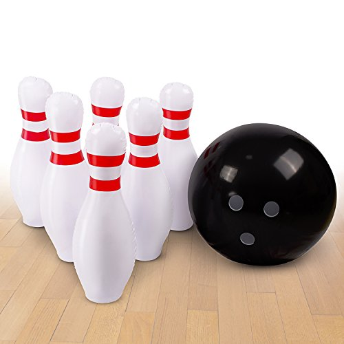 Inflatable Bowling Ball Set – Ideal Fun Game for Kids & Adults, Family Parties & Picnics – Outdoor or Indoor - Stable & Durable – Perfect Size – Includes 1 Ball & 6 Pins (Set Inflatable)