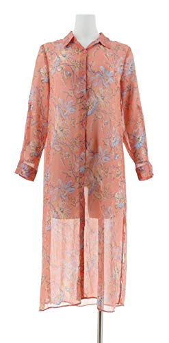 Floral Print Front A286677 Duster Wonder Sorbet Peach Button Spring C wSZxPqZv