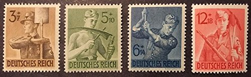 (Germany Mint WWII Postage Stamps - Soldier's Manual Labor - Nazi Third Reich - Scott B237-40 Semi-Postal - MNH Complete Set)