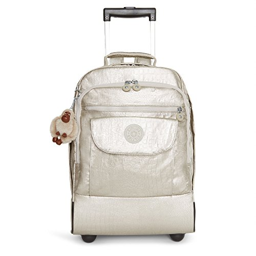 Image result for Kipling Women's Sanaa Metallic Rolling Backpack One Size Silver Beige Snake