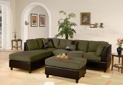 Furniture2go F7620 Sage Sectional Sofa Set   Reversible Left/Right Chaise,  3 Seat