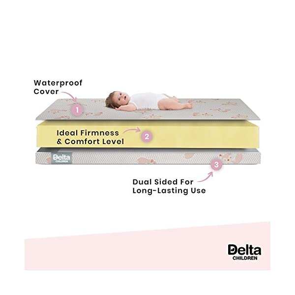 Delta Children Twinkle Stars Limited Fiber Core Crib and Toddler Mattress Waterproof Lightweight GREENGUARD Gold Certified (Natural/Non-Toxic) 2