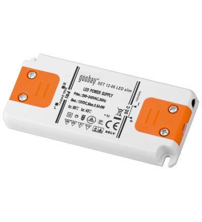 Transformateur LED Extra plat, Courant continu (CC), 12V, de 0à 6Watts 12V de 0à 6Watts MANAX