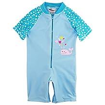 Sweet & Soft Little Girls Whale and Polka Dots 1-Piece Swimsuit Rashguard Romper, Blue, 3T