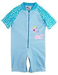 Sweet & Soft Little Girls Whale and Polka Dots 1-Piece Swimsuit Rashguard Romper, Blue, 2T