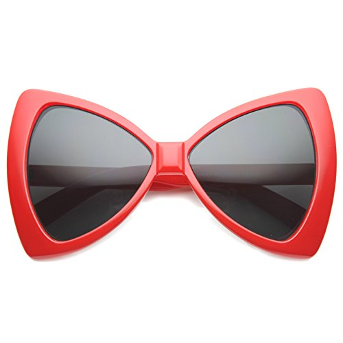 zeroUV - Women's Colorful Oversize Large Bow Tie Shape Butterfly Sunglasses 60mm (Red/ - Bow Glasses