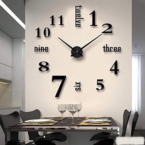 Mein HERZ Reloj de Pared DIY sin Marco Pegatina 3D Reloj de Pared Nuevo Reloj de Pared Digital arabe Espejo Acrilico Dormitorio/Sala de Estar/Pasillo/Decoracion de Bar Reloj de Pared Digital Negro
