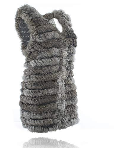neck Piel Gris Heizzi De Chaleco Conejo Punto V Natural 4Upxf4Y