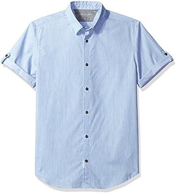 Calvin Klein Jeans Men's Short Sleeve Dot Dobby Melange Button Down Shirt