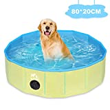 Zacro Foldable Small Dog Pool - 31.5 X 7.9 in Pet Paddling Bath Pool, Small Outdoor Bathing Tub for Dogs Cats and Kids