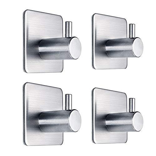 UNITENDA 4 PCS Stainless Steel 3M Self Adhesive Hook + 3 Pack S Shaped Hooks Stainless for Hanging for Robe, Coat, Towel, Keys, Bags, Home, Kitchen, Bathroom