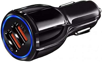 Yデパートセンター55® QC3.0 カーチャージャー 急速充電 USB2ポート シガーソケット スマホ 充電器 12V 24V 車 スマホ (ブラック)