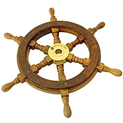Nautical Cove Wooden Ship Wheel Pirate Decor, Ships Wheel for Home, Boats, and Walls (15 Diameter)