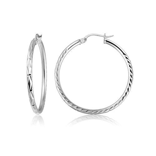 (Sterling Silver 2mm Diamond-Cut High Polished Round Hoop Earrings, 25mm)