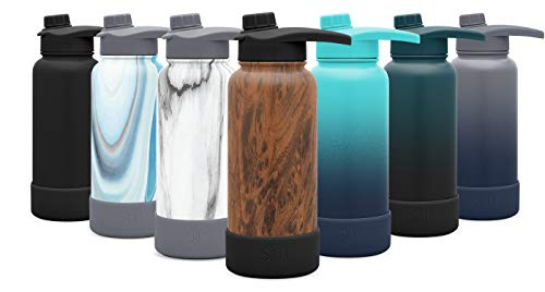 - Simple Modern 14oz Summit Water Bottle with Chug Lid & Protective Boot - Hydro Vacuum Insulated Flask 18/8 Stainless Steel Powder Coated Pattern: Wood Grain