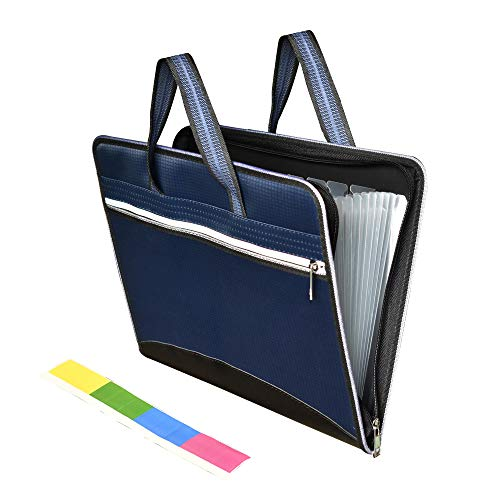 File Folder Bag, Waterproof Oxford Fabric Accordian Document File Organizer Business Briefcase Bag with Handle, 13+1 Pockets, Leather Decorate, A4 Size, Double Zipper,Dark Blue