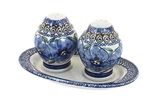 Polish Pottery Blue Art Salt & Pepper Shakers
