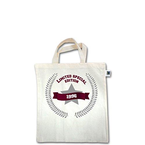Geburtstag - 1996 Limited Special Edition - Unisize - Natural - XT500 - Fairtrade Henkeltasche / Jutebeutel mit kurzen Henkeln aus Bio-Baumwolle