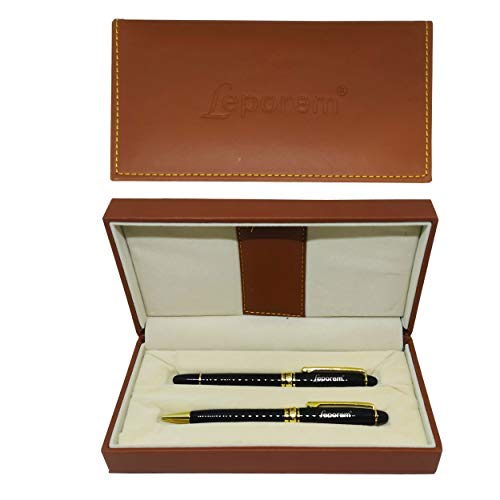 Ballpoint Pens - Premium Ball Pens, Twist to Open, with a Cap, Luxurious Smooth Writing Classic Executive Business Elegant Metal Pens with Golden Trim Set of 2 by Leporem (Metal)