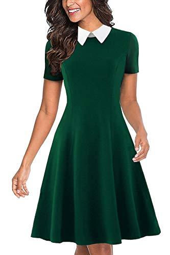 Drimmaks Women's Summer Short Sleeve White Peter Pan Collar Swing A-Line Party Casual Skater Dress (017-Dark Green, M)