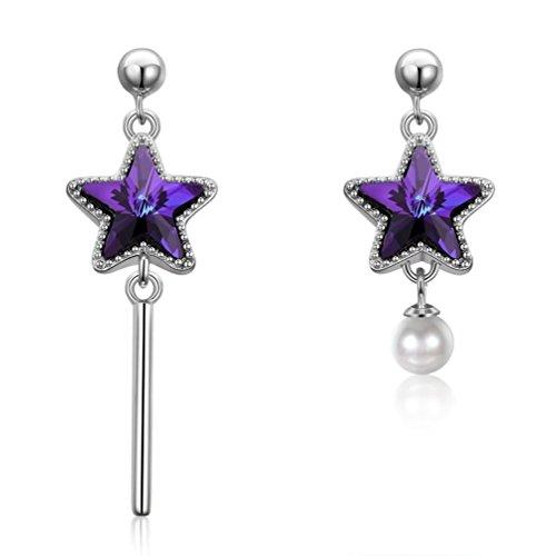 FENDINA Sparkling Purple Star Stud Post Earrings Asymmetric Rhinestones Silver Plated Elegant Dangle Earrings Fashion - Fake Glasses That Cute Real Look