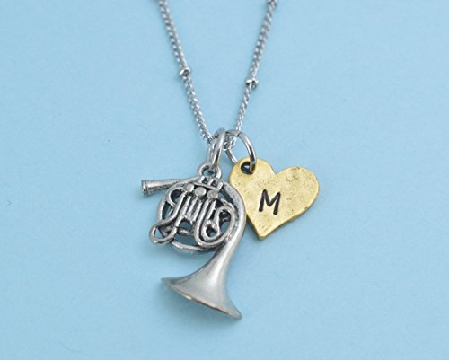 Antique Silver Pewter French Horn Necklace, personalized with hand stamped gold plated pewter heart initial charm. French horn jewelry.