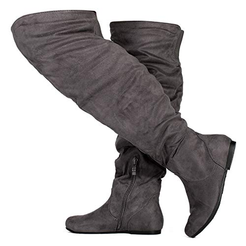 RF ROOM OF FASHION Wide Calf Women's Stretchy Over The Knee Slouchy Boots Grey (8.5)