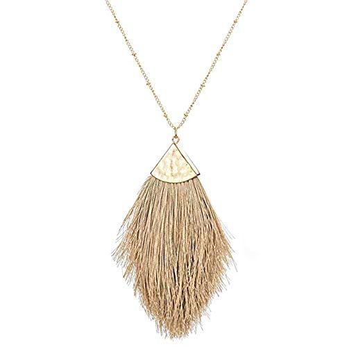 DESIMTION Brown Tassel Statement Long Necklaces for Women Feather Fringe Pendant - Necklace Chain Long Pendant