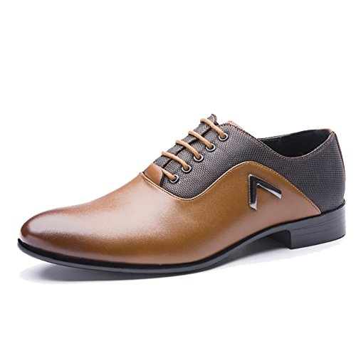 Rainlin Men's Classic Pointed Toe Lace up Dress Oxford Shoes Yellow US 9