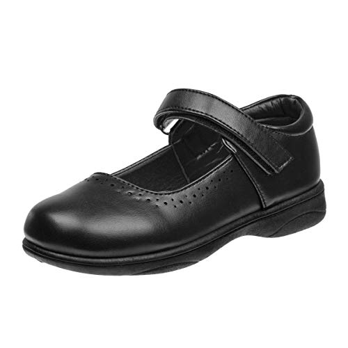 Petalia Girls' Cushioned School Uniform Shoes (Toddlers/Little Kid/Big Kids), Black, Size 9 M US Toddler