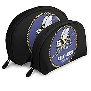 American And Seabee Crossed Flag Girls Hand Shell Makeup Pouch Storage Bag Toiletry Organizer