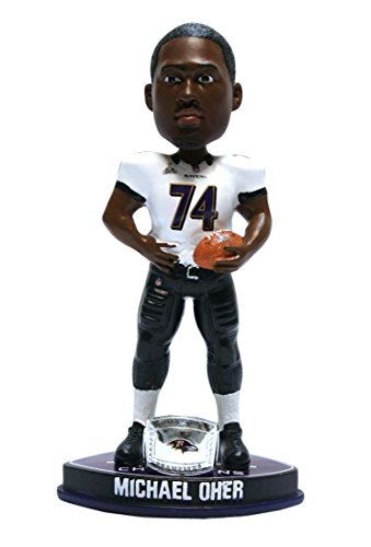 Forever Collectibles - Baltimore Ravens Michael Oher Forever Collectibles Super Bowl 47 Champ Ring Bobble Head