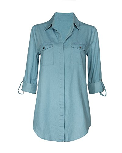 [Women's Floral Rolled Sleeve Button Up V Neck High Low Loose Business Casual Top] (Cute Cheerleading Outfits)