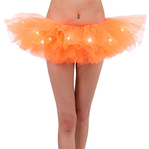Women's Classic 5 Layered Clubwear Mini Dance LED Tutu Skirt, Fluorescent Orange
