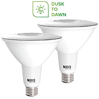 Sunco Lighting 2 Pack PAR38 LED Bulb with Dusk-to-Dawn Photocell Sensor, 15W=120W, 3000K Warm White, 1250 LM, Auto On/Off, Security Flood Light Indoor/Outdoor - UL