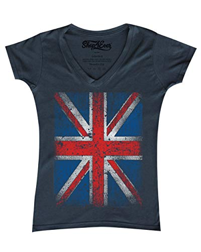Shop4Ever Vintage Union Jack British Flag Women's V-Neck T-Shirt United Kingdom Flag Shirts Medium Charcoal 0 ()