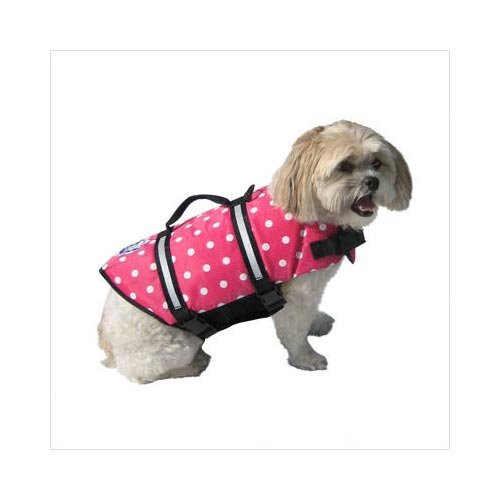 Paws Aboard Designer Doggy Life Jacket Extra Extra Small Pink Polka Dot Up to 6 lbs