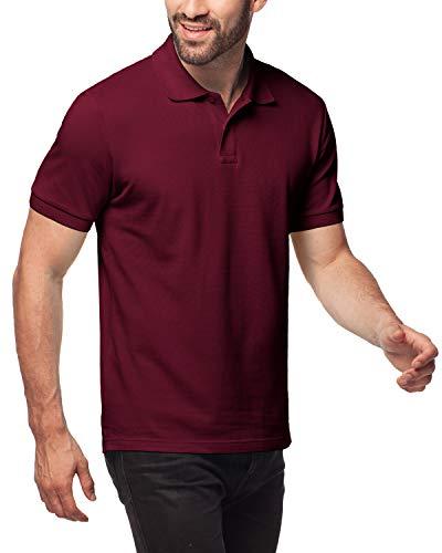 LAPASA Polo Shirt for Men, 100% Cotton, Piqué Knitted Fabric (no Jersey). Longer Back-Hem, Short Sleeve M19 (Burgundy, XXL/See Sizechart) ()