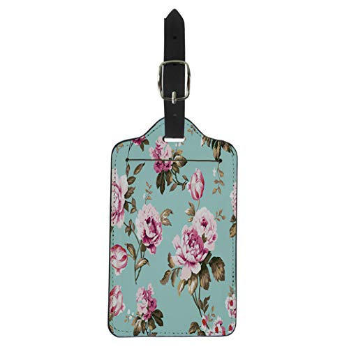 Pinbeam Luggage Tag Shabby Chic Vintage Roses Tulips and Forget Me Suitcase Baggage Label