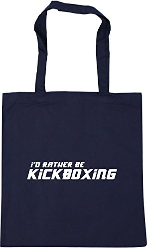 HippoWarehouse I'd Rather Be Kickboxing Tote Shopping Gym Beach Bag 42cm x38cm, 10 litres French Navy