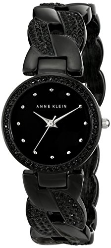 (Anne Klein Women's AK/1833BKBK Swarovski Crystal-Accented Black Cuff Bangle Watch)