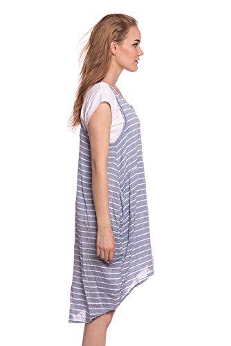 Abbino 8678 Vestido De Rayas Con Camisetas Para Mujeres - Hecho en ITALIA - 3 Colores - Moderno Transición Primavera Verano Otoño Elegantes Formales Casual Vintage Chica Joven Rebajas Azul