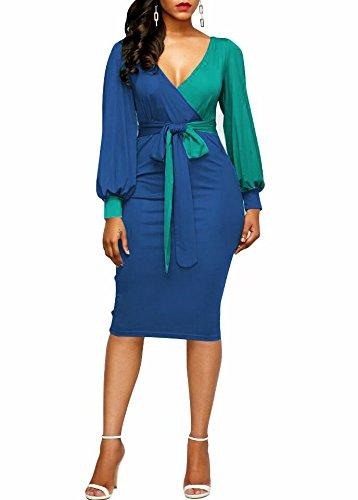 KISSMODA-Womens-Sexy-Deep-V-Neck-Faux-Wrap-Midi-Bodycon-Dress-Long-Sleeve-Colorblock-Pencil-Dresses-With-Tie-Belt