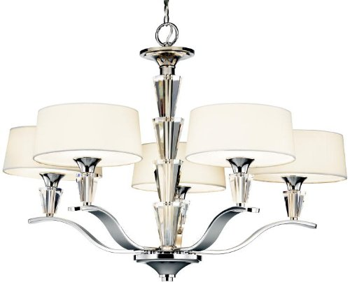 Kichler Lighting 42030CH Crystal Persuasion 5-Light Chandelier, Chrome and White Linen Fabric Shades with Satin-Etched Glass Diffusers