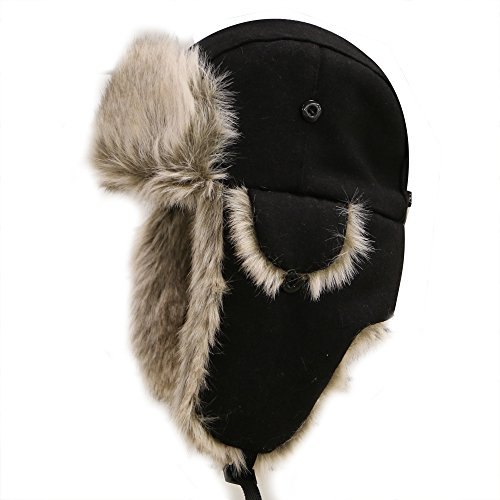 (City Hunter W300 Premium Wool Trapper Hats - Black)