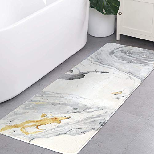 Runner Bath (HAOCOO Bath Rug Runner 18x47 inch White Marble Bath Mat Non-Slip Long Door Carpet Soft Luxury Microfiber Machine-Washable Floor Kitchen Rug for Doormats Tub Shower)