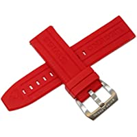 Swiss Legend 24MM Red Silicone Rubber Watch Strap w/Silver Stainless Buckle fits 47mm Submersible Watch