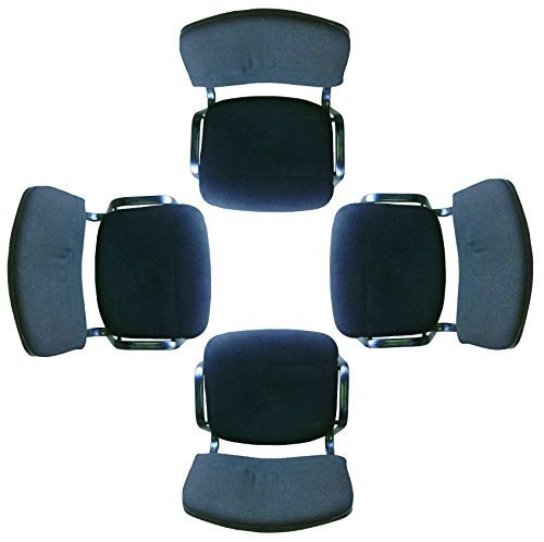 allchairsanddesks Black Modern Stacking Church Chairs in Comfortable Cloth Sold in a Suitable for Office Community centres and Home Training Pack of 4 Chairs. Churches conferences