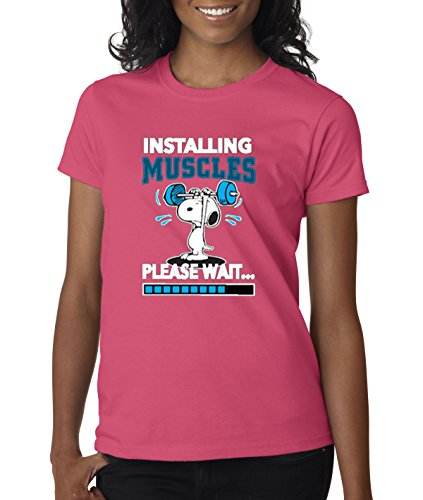 Women's Snoopy Weightlifter Installing Muscles Tee - XS to XXL